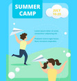 happy children throw paper airplanes in summertime vector image
