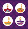 happy diwali festival collection diya lamps vector image vector image