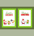 happy holidays and merry christmas cards vector image vector image