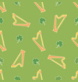 irish shamrock clovers harp pattern vector image