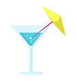 margarita cocktail in glass long leg with umbrella vector image