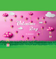 paper art of happy valentine day heart balloon vector image