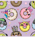 pattern with cute cartoon donuts vector image