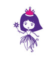 princess fairy with crown and magic wand on color vector image vector image
