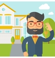 Real estate agent holding a key infront of the vector image