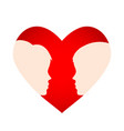red heart with silhouette man and woman head vector image vector image