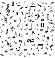 seamless black and white music notes background vector image
