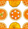 seamless pattern with pumpkin pies and pumpkins vector image