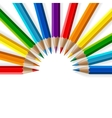 Semicircle of rainbow colored pencils with vector image vector image