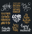 set hand lettering with motivational vector image