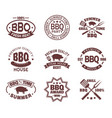 set isolated steakhouse signs or meat shop logo vector image