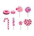 set of flat candies candy cane donut vector image vector image