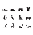 Silhouette sports equipment and objects icons vector image vector image