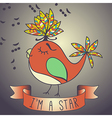 sing bird ribbon and slogan vector image