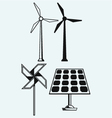 Solar panel and windmill vector image