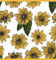 yellow flowers on white background seamless vector image