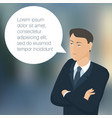 young business man with speech comment bubble vector image vector image
