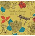 Birthday card Bird and flowers vector image