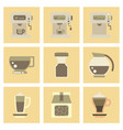 assembly flat icons coffee cup coffee maker vector image vector image