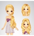 Beautiful Girl And Collection Of Hairstyles vector image vector image