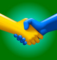 blue and yellow handshake vector image vector image