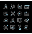 Blueprint White Blue Linear Icons vector image vector image