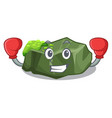 boxing cartoon green rock sample of high grade vector image vector image