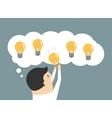 businessman choosing best idea light bulb vector image