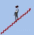 businessman on a graph success business vector image