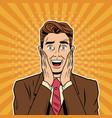 businessman surprised pop art cartoon vector image