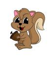 cartoon a cute squirrel with nut vector image