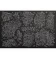 Chalkboard hand drawn doodle cartoon set of vector image