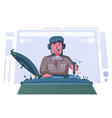 character playing game on a panzer desk cartoon vector image