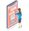 chat bot robot speech internet ai service mobile vector image