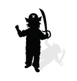 child with pirate hat and sword silhouette vector image vector image