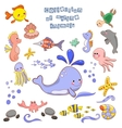 Collection of marine animals and fish vector image