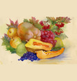 colorful ripe fruits and vegetable watercolor vector image