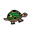 cute cartoon turtle on a white background vector image vector image