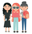 cute girls with accessories urban style characters vector image