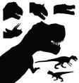 dinosaur set adorable black color animal vector image vector image