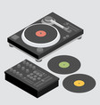dj set of decks and mixer vector image vector image