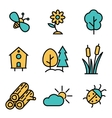 flat line nature icons set vector image vector image
