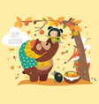 funny bear with cute girl harvesting apples vector image vector image
