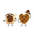 funny waffle and toast with chocolate spread vector image vector image