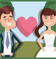 happy couple married with heart vector image vector image