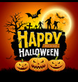happy halloween message design with pumpkins vector image vector image
