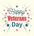 happy veterans day handwritten lettering stars vector image vector image