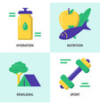 healthy lifestyle concept icon set in flat style vector image vector image