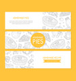 homemade pie banner templates set card poster vector image