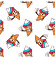 ice cream cone seamless pattern with cream color vector image vector image